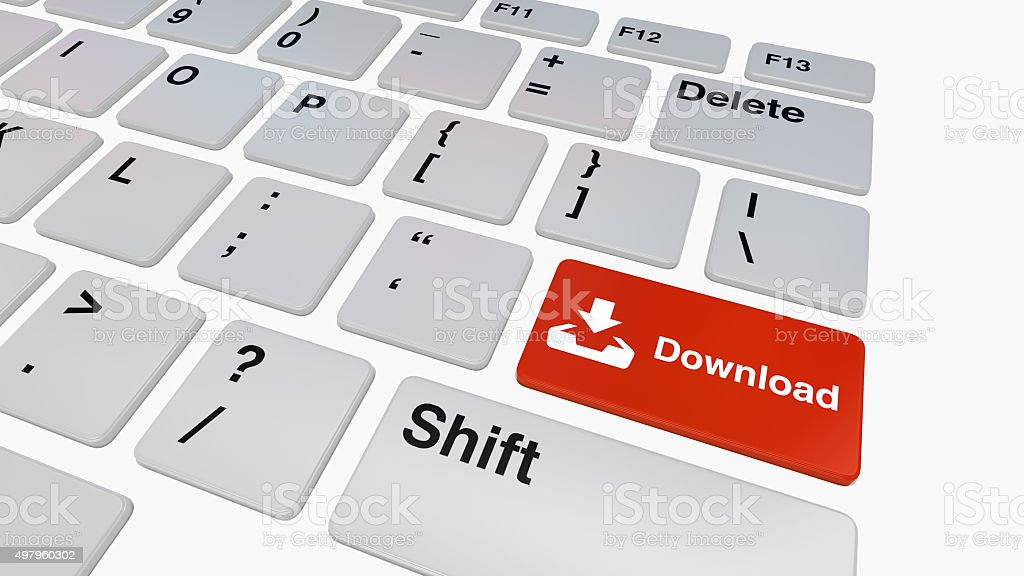 Keyboard with red download button stock photo