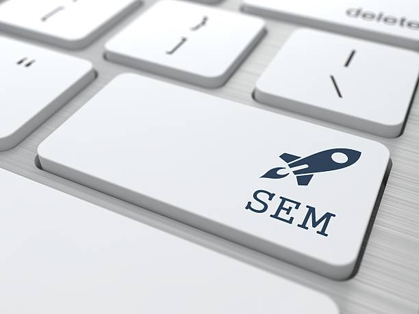 Keyboard with SEM Button. White Button with SEM on Computer Keyboard. Internet Concept. sem stock pictures, royalty-free photos & images