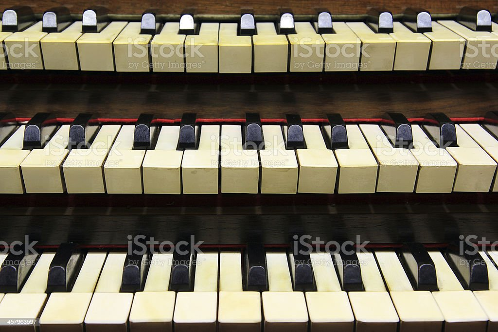 Keyboards of organ stock photo