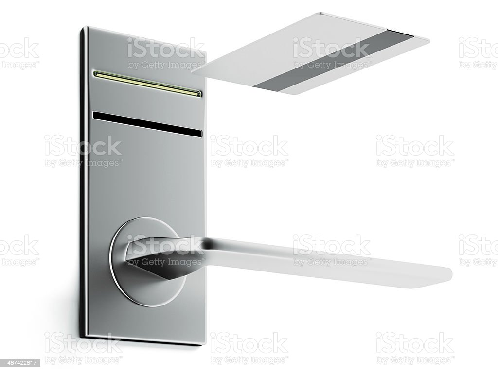 Keycard and electronic lock stock photo