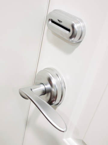 Electronic keycard door lock security system on a hotel room