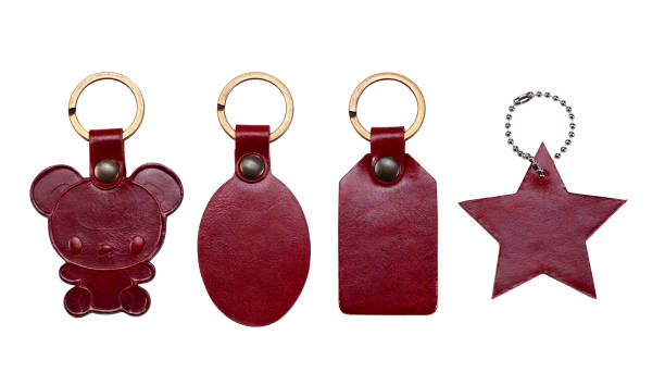 Keychains made of leather isolated on white background. Clipping path. stock photo