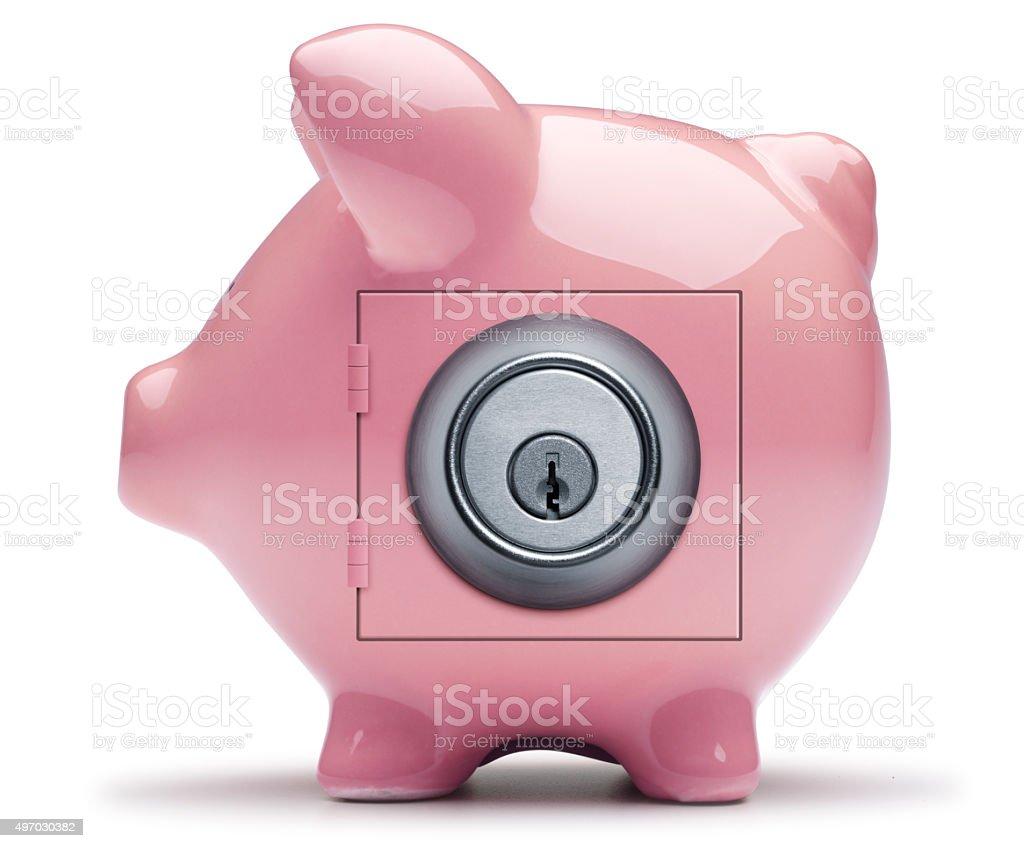 Keyed Lock on Pink Piggy Bank stock photo