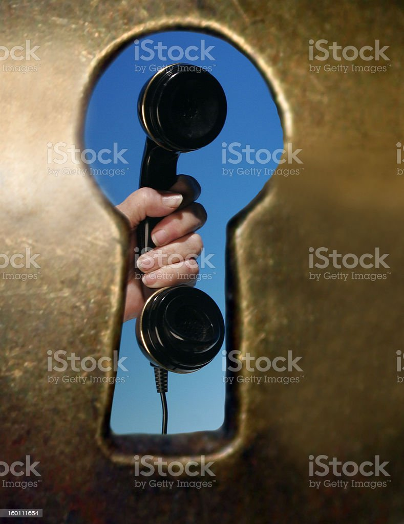 Keyhole and Telephone - Key to Success - Locked Out - Communicat royalty-free stock photo