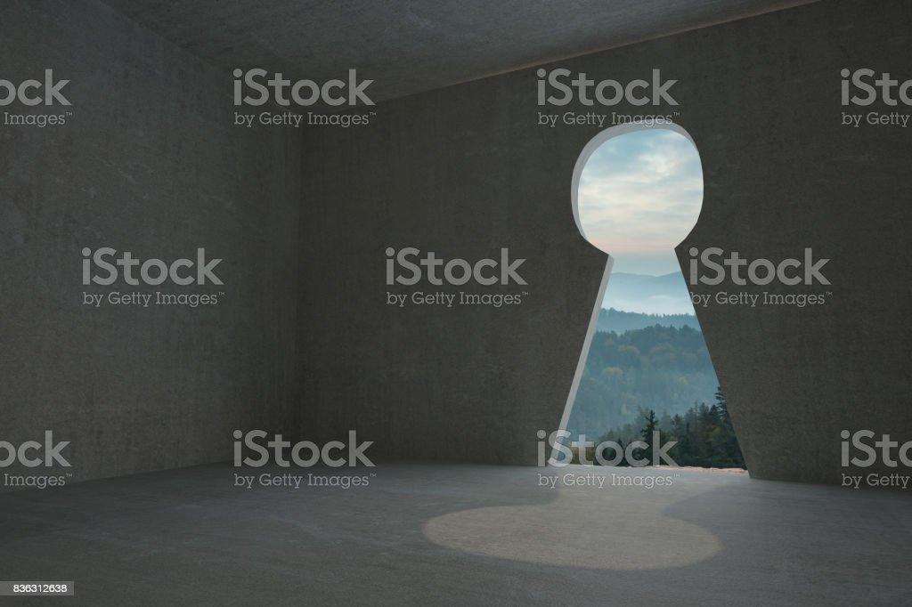Schlüsselloch Tür Im Dunklen Raum Stockfoto Und Mehr Bilder Von Baum