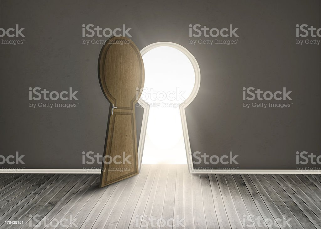 Keyhole shaped doorway stock photo