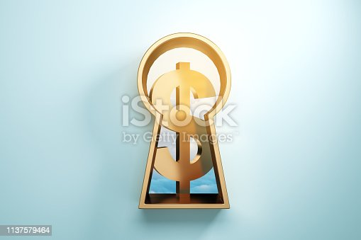 istock Keyhole with golden dollar 1137579464