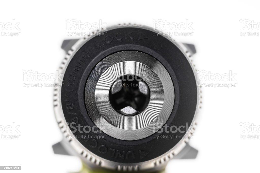 Keyless drill chuck on white background stock photo