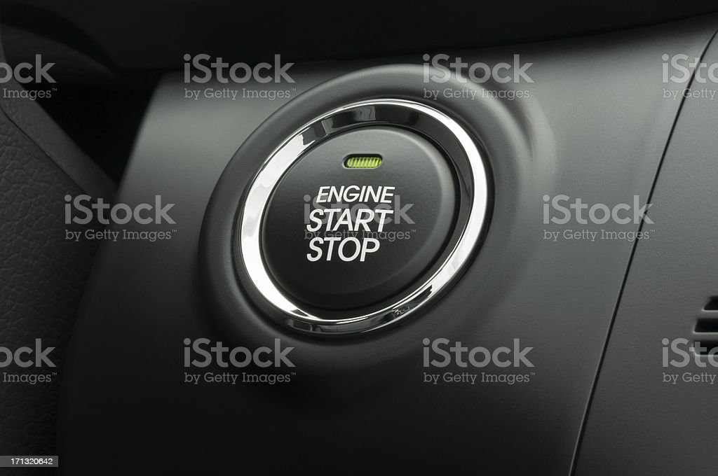 Keyless Smart Key Engine Start Stop Button stock photo