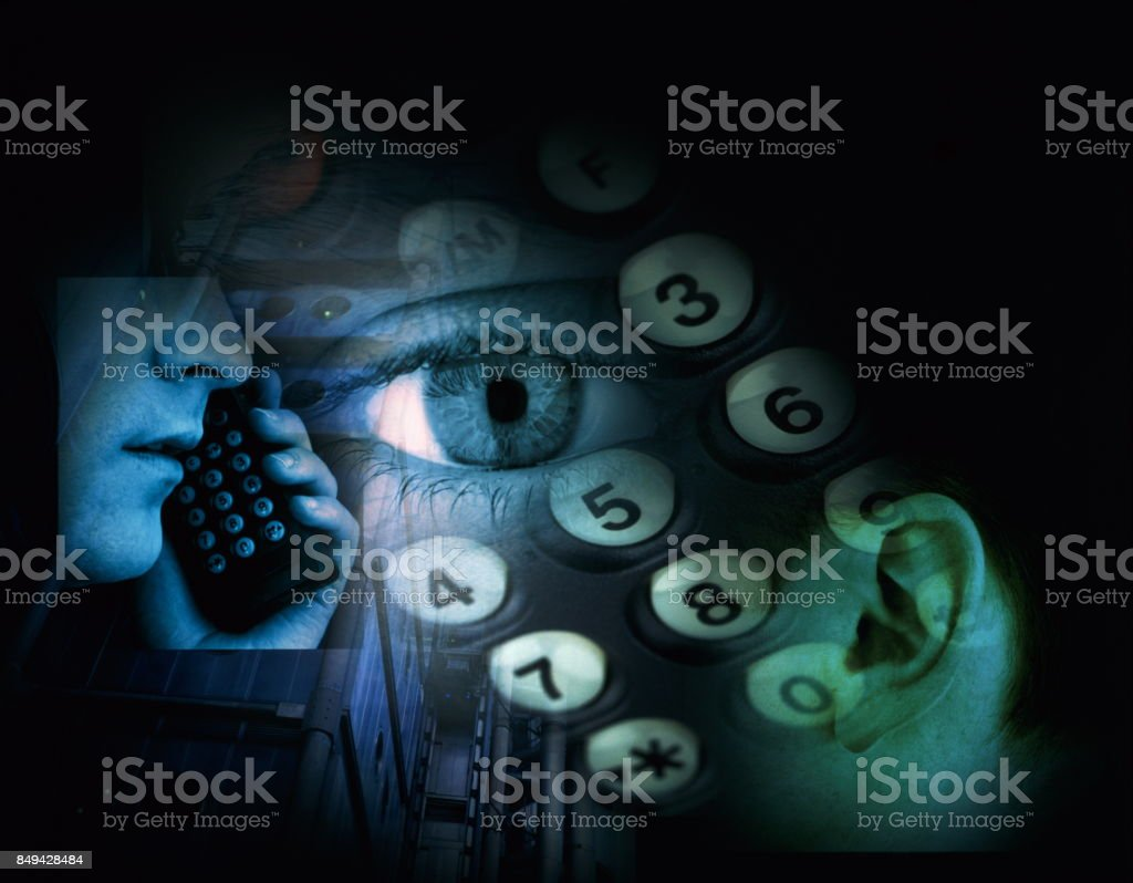 Keypad, eye, ear and person using mobile phone.
