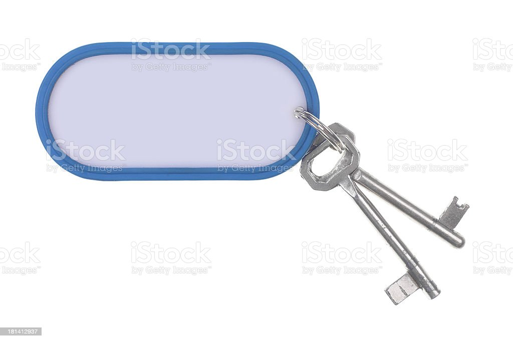 Keyring attached to keys stock photo