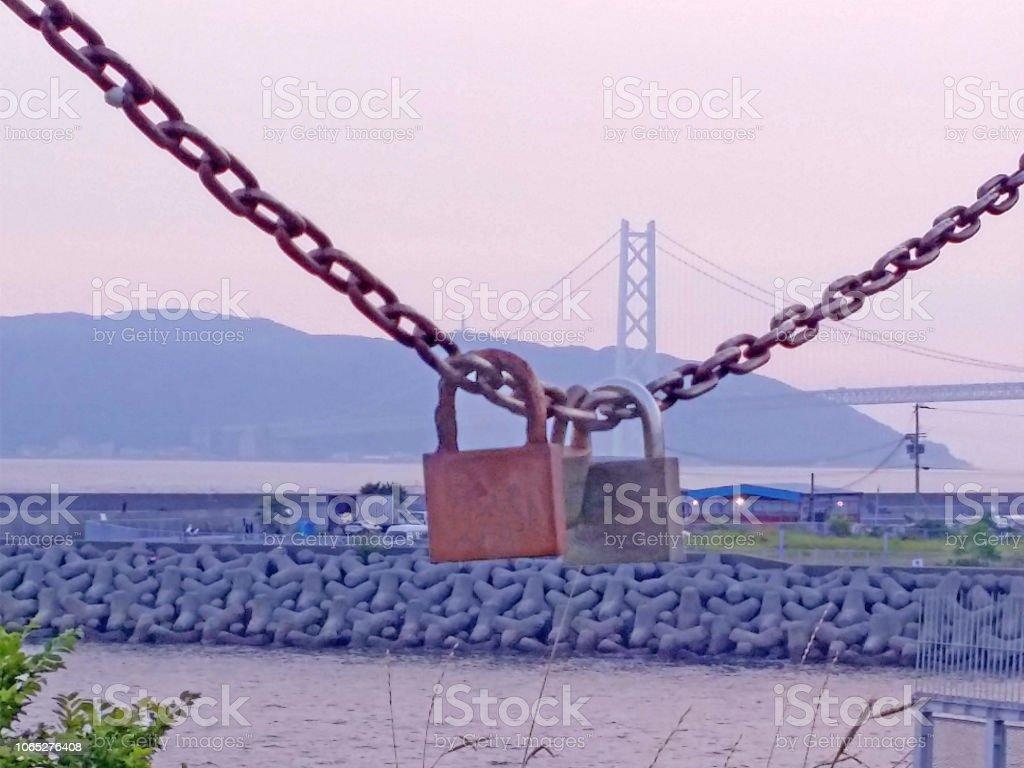 キーと Akasikaikyo 橋 ストックフォト