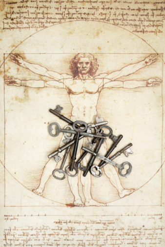 istock Keys and DaVinci Man Figure 95784033