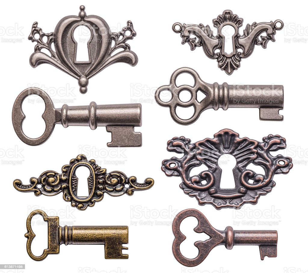 keys and keyholes stock photo