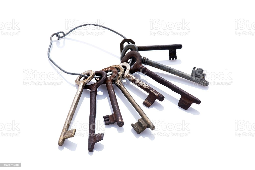 Keys for door lock stock photo