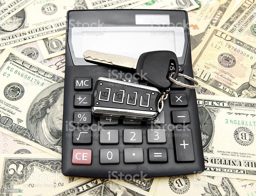 Keys from the car  on money. royalty-free stock photo