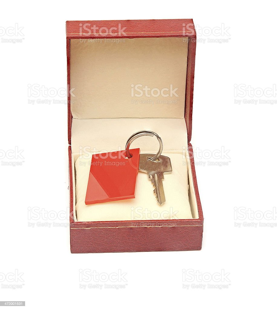 keys in red gift box isolated on white stock photo