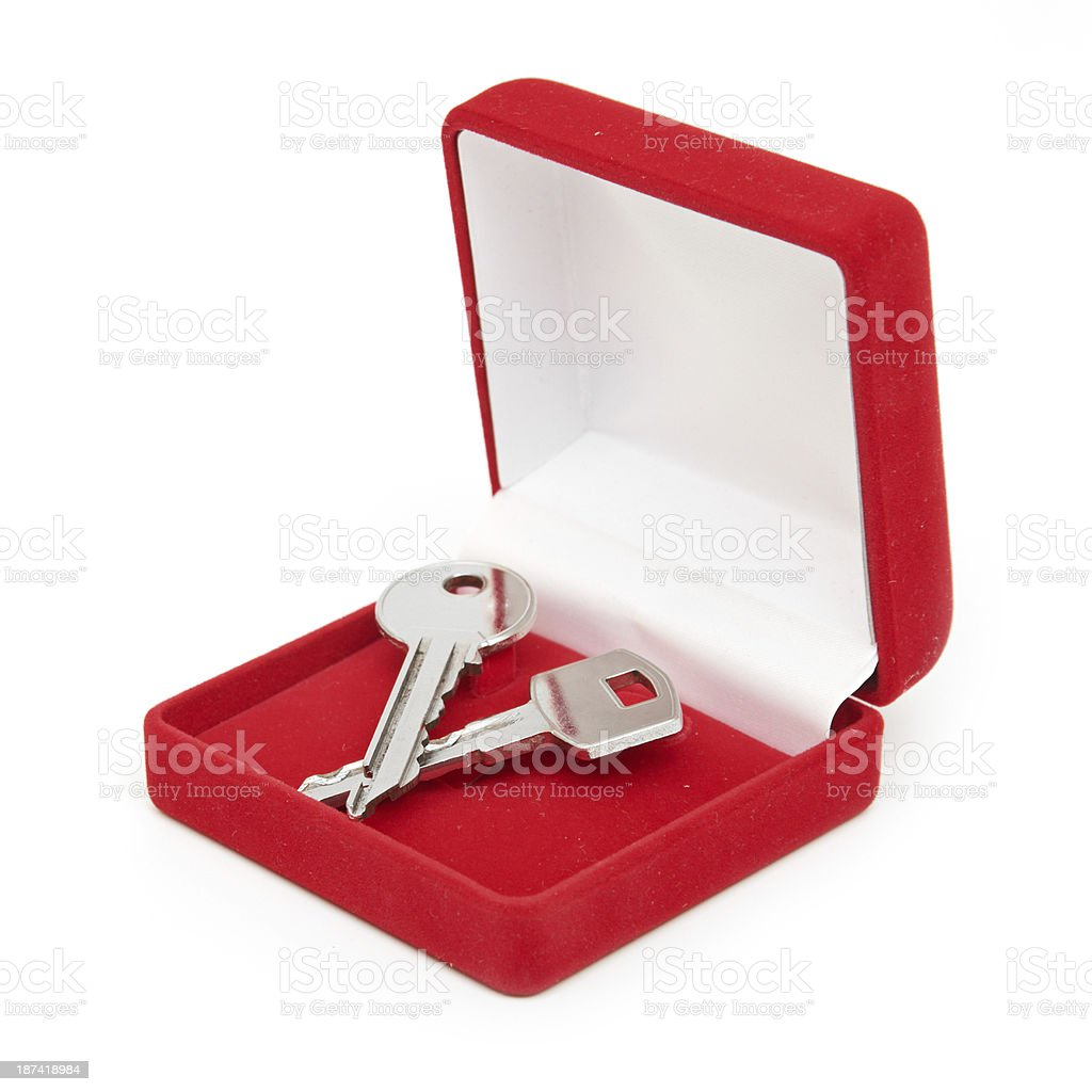 keys in red gift box stock photo