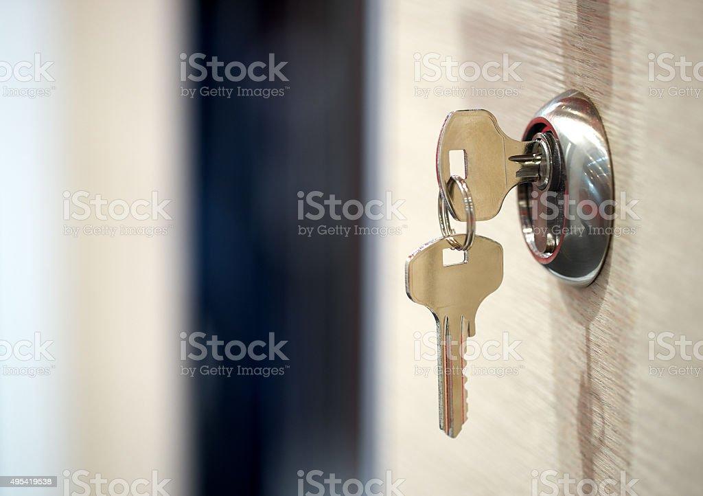 keys in the keyhole stock photo