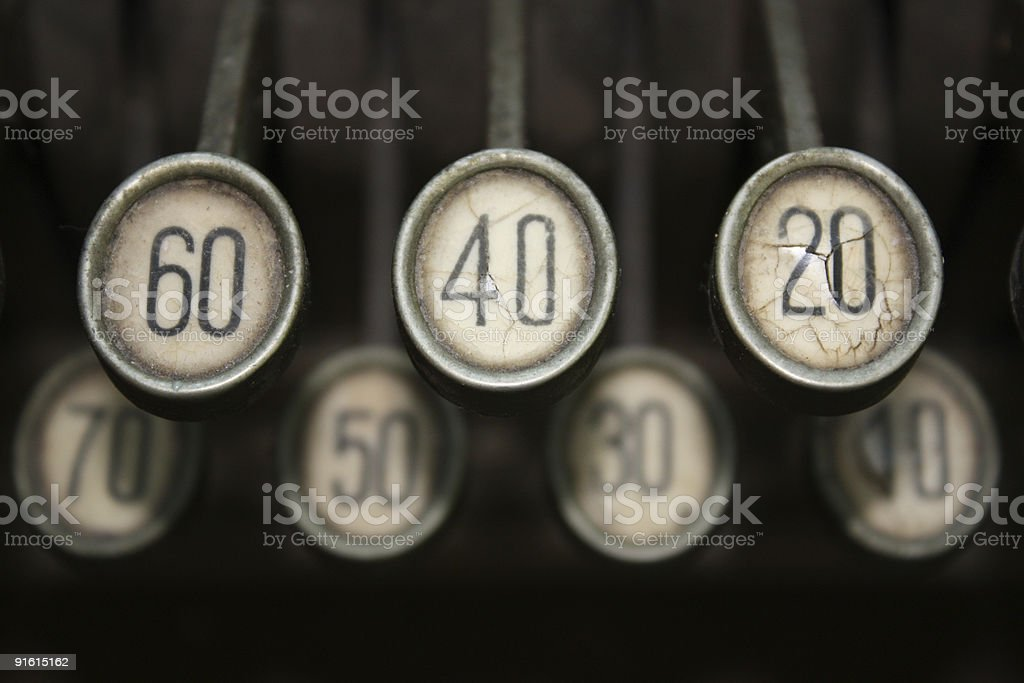 Keys of an old cash register royalty-free stock photo