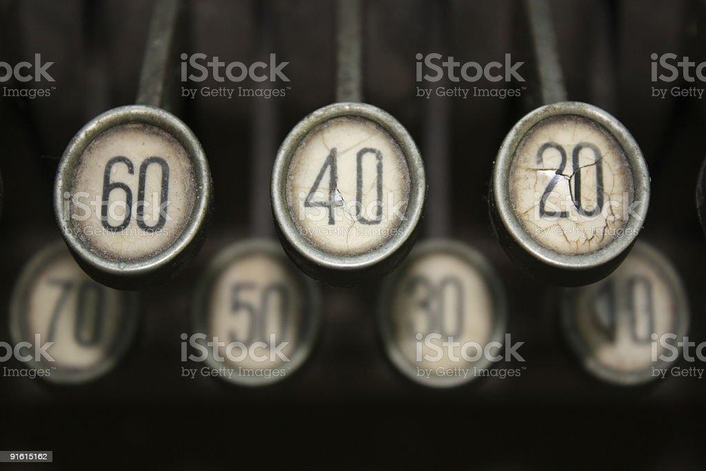 Keys of an old cash register stock photo