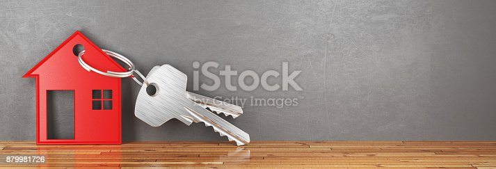 istock Keys of new home, house, render 3d illustration 879981726