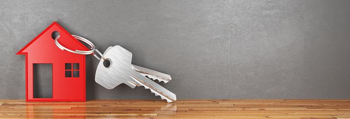 istock Keys of new home, house, render 3d illustration 879981726