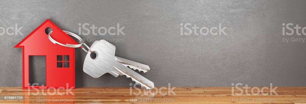 Claves de nuevo, casa, render 3d ilustración - foto de stock