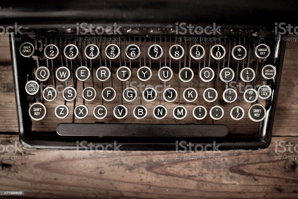 Keys of Vintage, Black, Manual Typewriter on Wood Trunk royalty-free stock photo