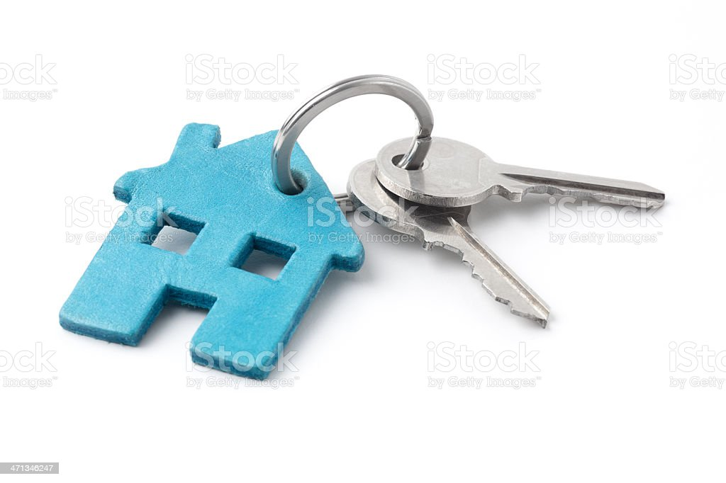 Keys on a ring with blue house keychain stock photo