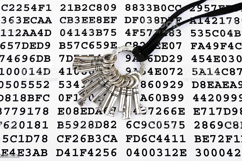 Keys on a sheet with encrypted data royalty-free stock photo