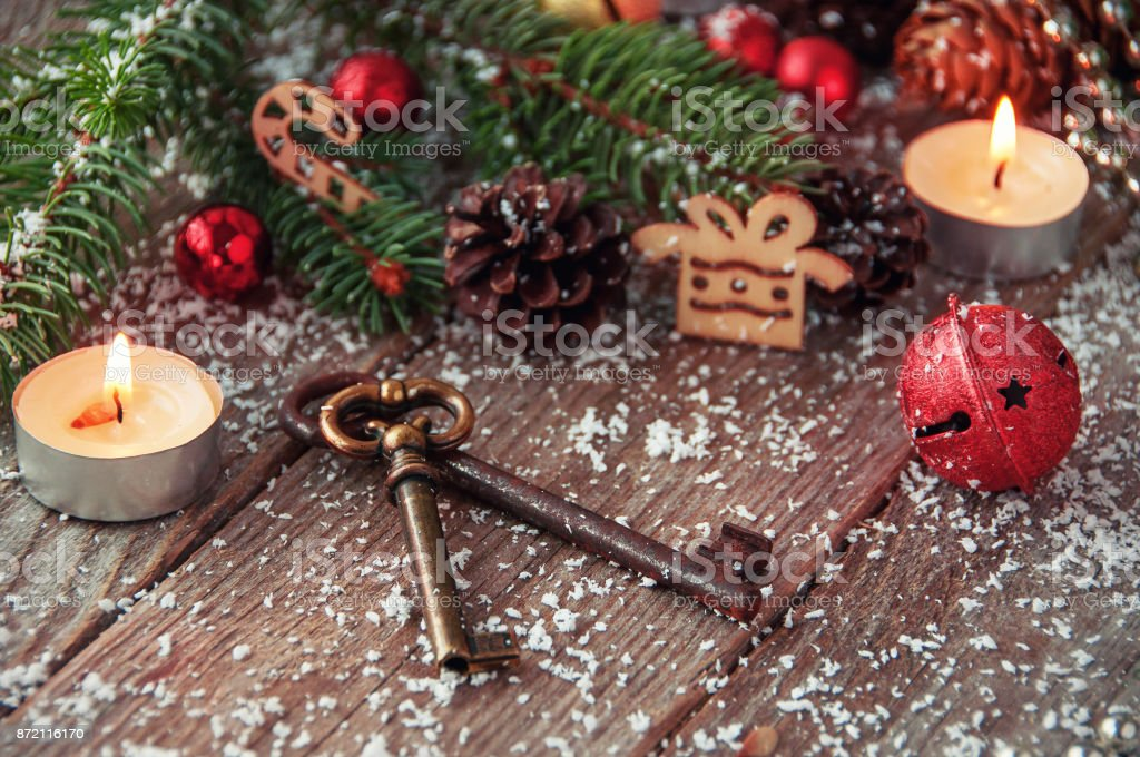 Keys On A Wooden Surface And Christmas Background Stock Photo & More ...
