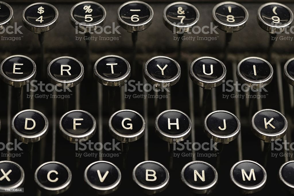 Keys on an antique typewriter stock photo