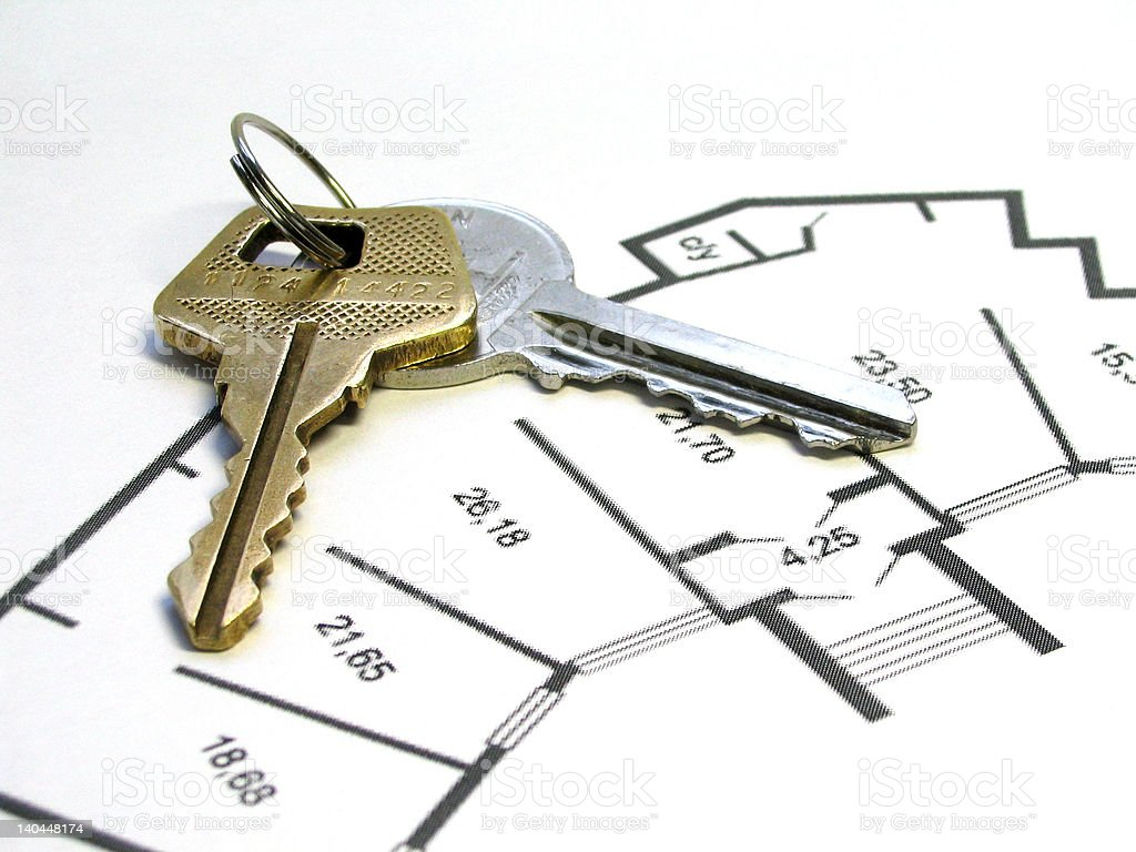 Keys on apartment plan royalty-free stock photo