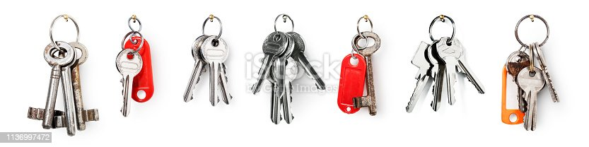 Key ring with house door keys collection isolated on white background. Banner design element security concept