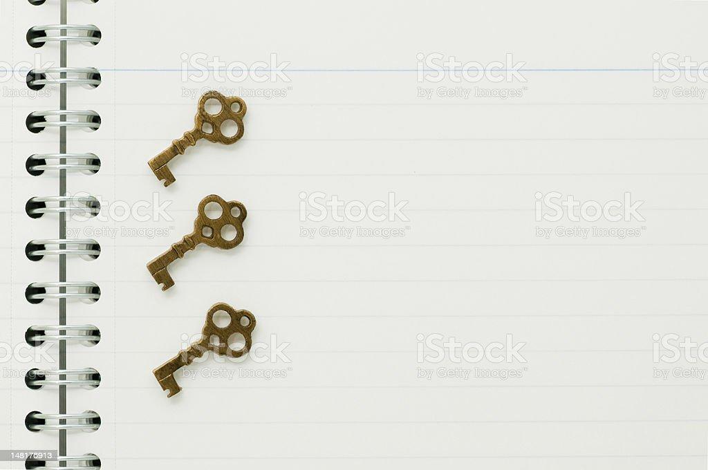 Keys on the notebook royalty-free stock photo