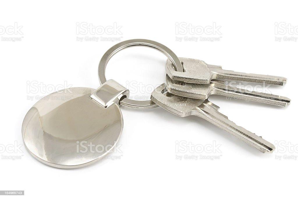 Keys with metal tag stock photo