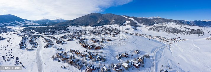 Keystone Colorado Winter Snowy Town Aerial Above Housing Developments