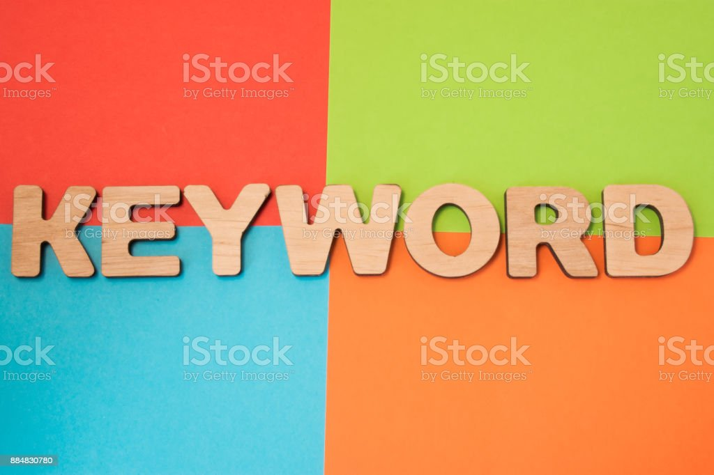 Keyword in search engine optimization SEO, advertising, digital marketing concept photo. 3D letters form word Keyword, part of Internet marketing in 4 colors background : blue, green, orange and red stock photo