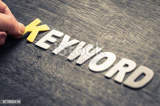 istock Keyword Wood Letters 877650416