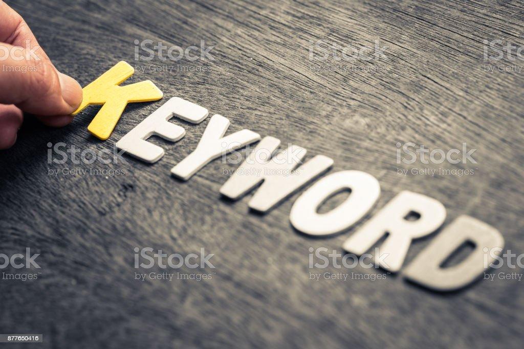 Keyword Wood Letters stock photo