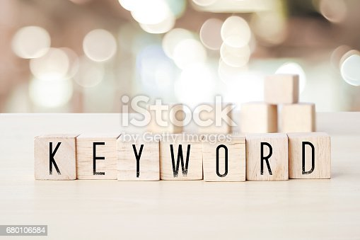 istock Keyword word on wooden cubes background, SEO concept 680106584