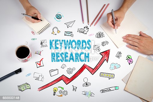 istock Keywords Research Business Concept. The meeting at the white office table 655500148
