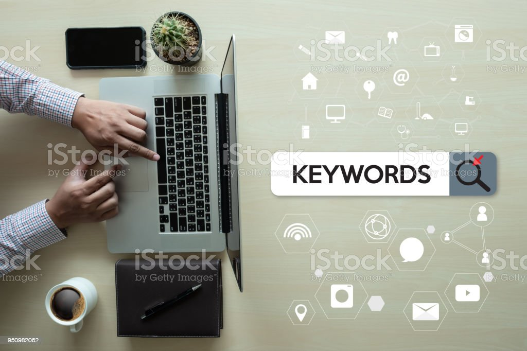 Keywords Research COMMUNICATION  research, on-page optimization, seo stock photo
