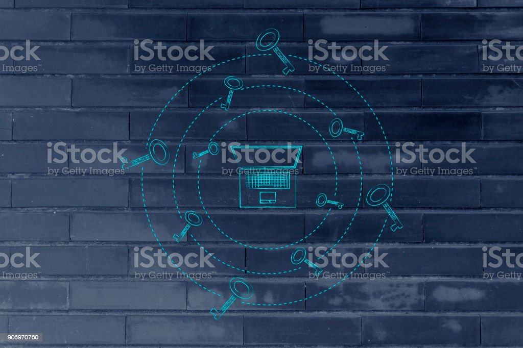 keywords to generate more views: laptop with keys spinning around it stock photo