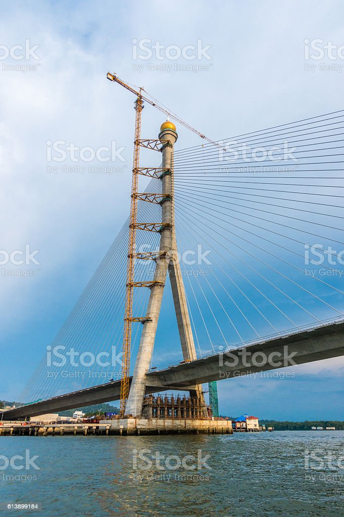 Kg Sungai Kebun Bridge construction stock photo