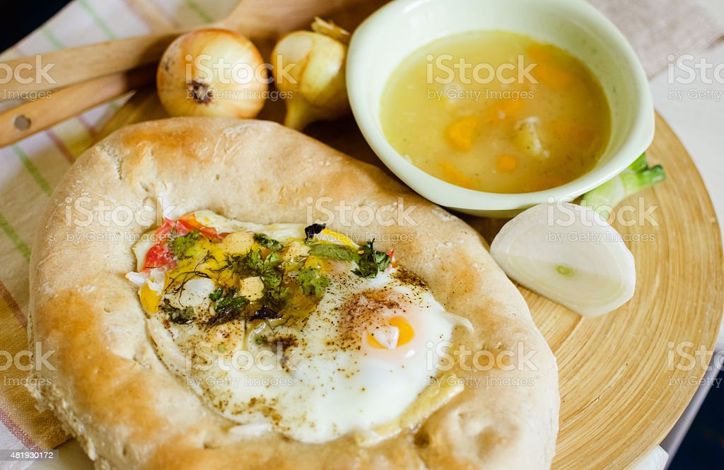 khachapuri with soup stock photo