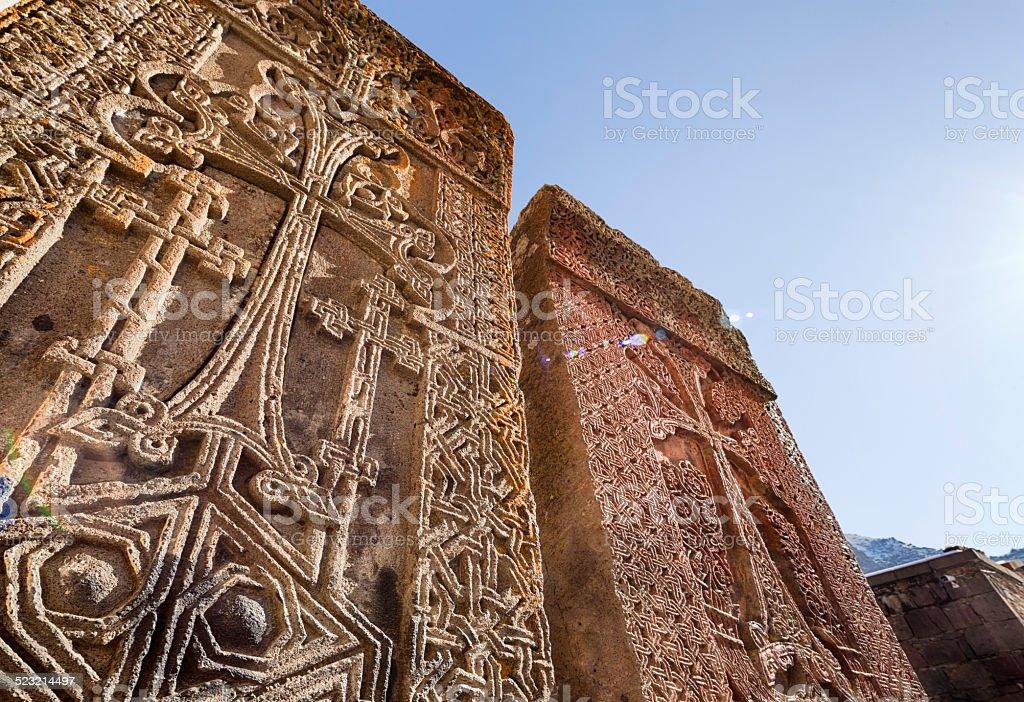 Khachkar, Geghard Monastery, Armenia stock photo
