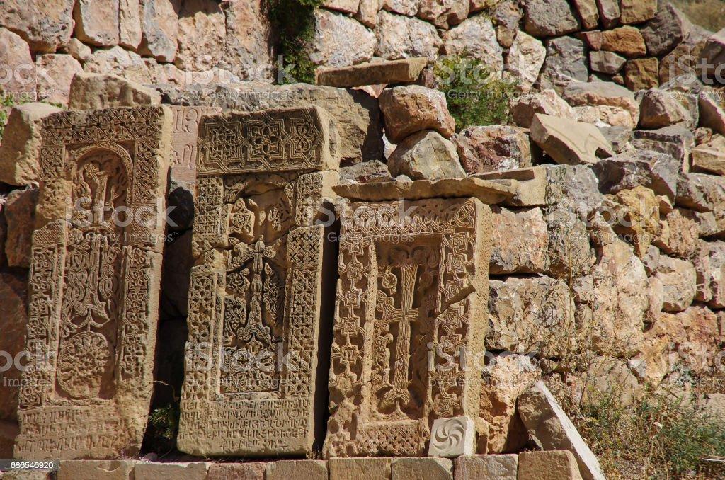 Khatchkar (Croix de Pierre), monastère de Noravank médiévale complexe dans la vallée de la Communauté, Arménie photo libre de droits