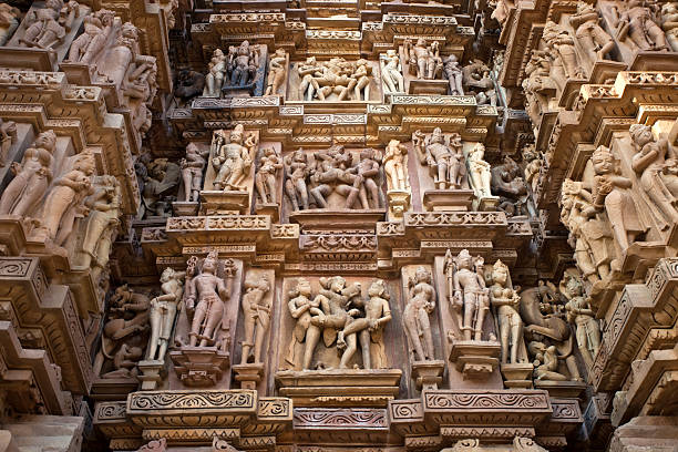 khajuraho, india temple - ancient stock photos and pictures